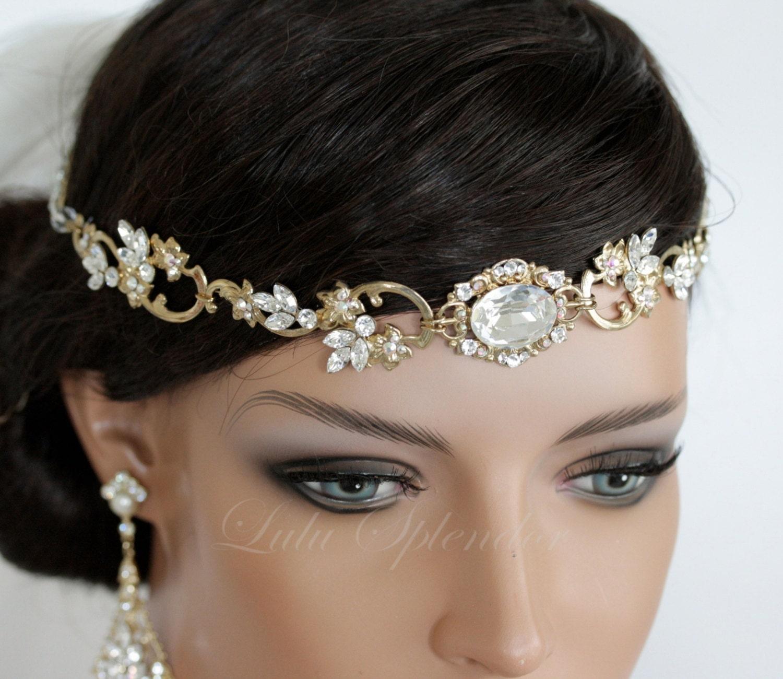 wedding hair accessory gold forehead band vintage headband