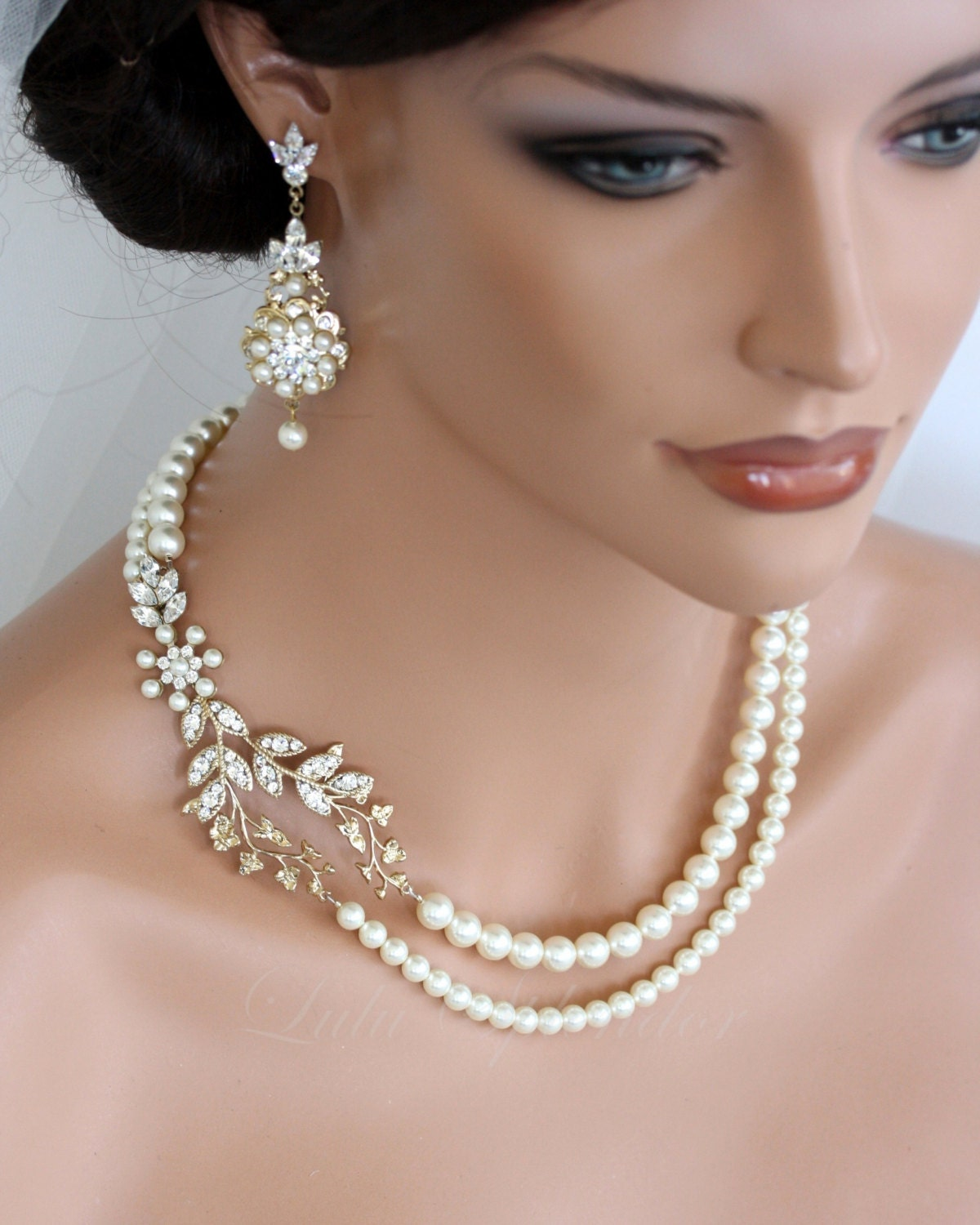 wedding pearl necklace vine leaf gold bridal necklace