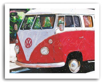 """Volkswagen Bus Art """"Red Hot Samba"""" Prints Signed and Numbered"""