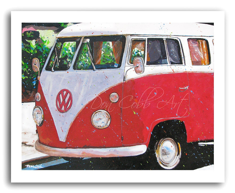 Volkswagen Bus Art Red Hot Samba Prints Signed And