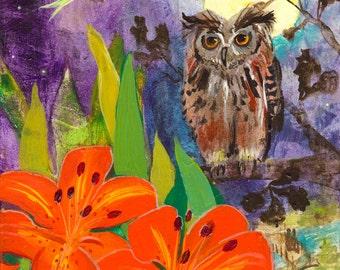 Lunar Enchantment an owl, lilies, lunar moth, moon, by Robin Maria Pedrero print