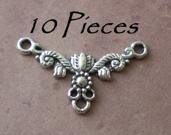 10 Flowers and Vine Pendant Connector Charms