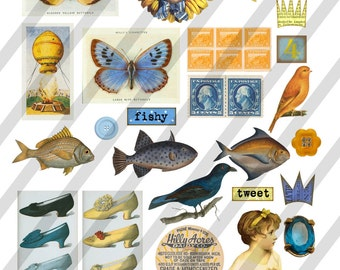 Digital Collage Sheet  Vintage Images  (Sheet no. O77) Ephemera-Instant Download