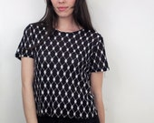 1990s Sheer Black and White Top Size S