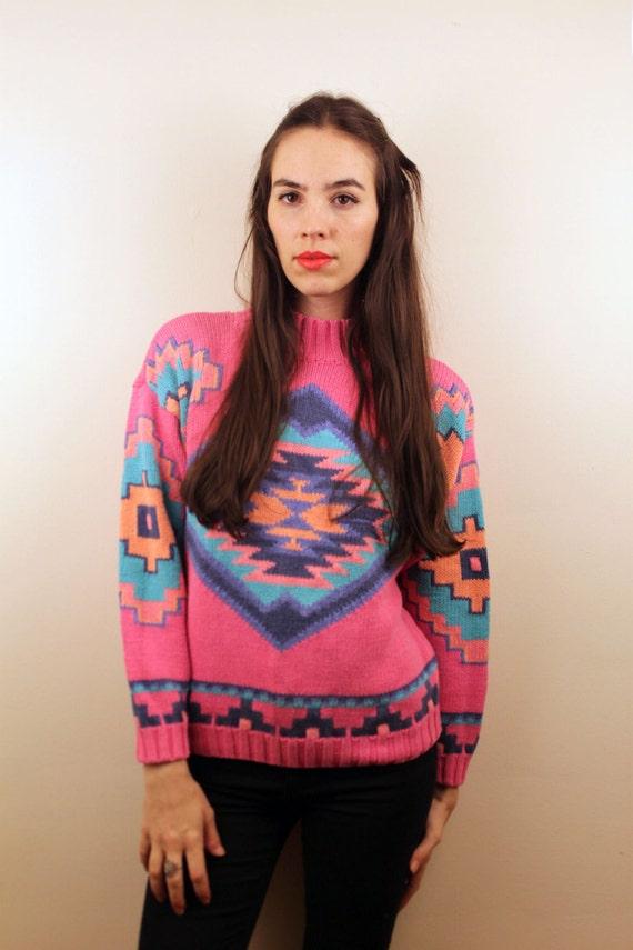 1990s Pink Southwestern Sweater Size S