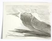 Giant crashing wave - original drawing seascape meditation
