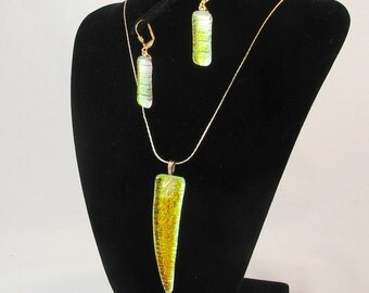 Magical mystery fused dichroic glass pendant or earrings  (3027-3137) color changing jewelry