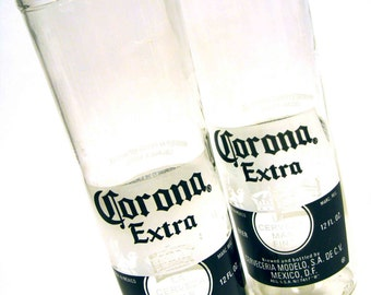 Set of Two of Recycled Corona Beer Bottle Drinking Glass Cups