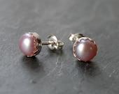 Bridal Earrings, Pearl Studs, Pearl Earrings, Mauve Pearl Earring, 6mm Studs, Light Pink Pearl Studs, Pearl Post Earrings, Bridal Pearl