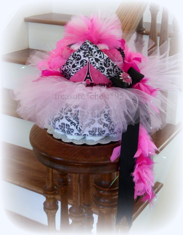 pink tutu diaper cake baby shower centerpiece eiffel tower