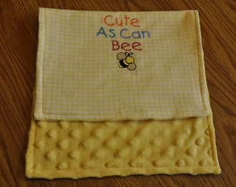 Cute as can Bee baby reversible burp cloth