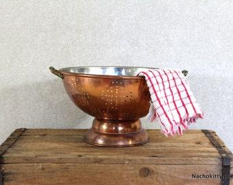 Copper, Tin & Brass Colander Vintage Kitchen Decor