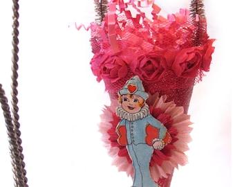 Vintage Style Valentine Ornament Decoration with Vintage Die Cut/Crepe Paper Flower - Boy