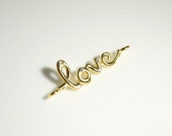 1pc- Matte Gold plated LOVE letters connector -28x12mm (006-030GP)