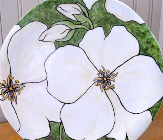 White Flower Plate - Painted Dogwood Blossom Table Plate Setting - Beautiful Wedding, Maid of Honor, Mother of Bride Gift - Charity Donation