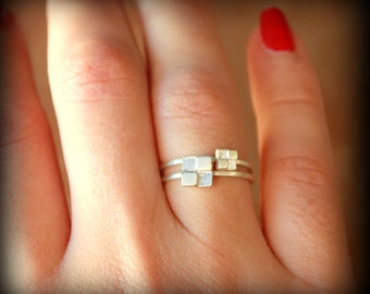 Two Block Rings - Stacking Rings - Sterling silver - Set of 2 - Stacker Rings