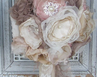 Fabric Bouquet, Bridal Bouquet Rhinestones and Pearls,Wedding Bouquet, Brooch Bouquet, Alternative Bouquet,Wedding Flowers, Blush Bouquet
