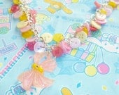 Pink Pastel Power - Pink and yellow button charm necklace with bow pendant On Sale