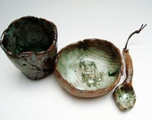 Monster Stoneware Set,  Bowl Cup and Spoon, Hobbitware , Small Rough Tableware. Rustic Pottery