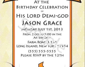 Demi-god/Percy Jackson Inspired/Greek God/ Half-Blood Themed Birthday Invitations- Camp Orange Child of Zeus Demi-god Boy or Girl- Digital