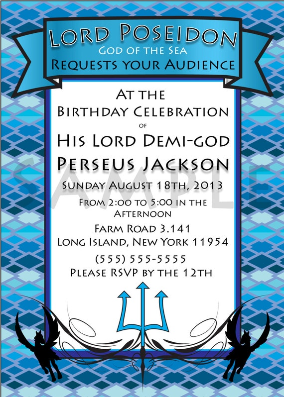 Demi-god/Percy Jackson Inspired/Greek God/ Half-Blood Themed Birthday Invitations- Sea Blue Child of Poseidon Demi-god Boy or Girl- Digital