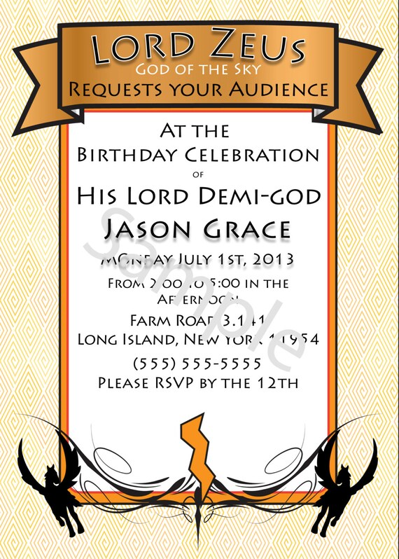 DemigodPercy Jackson InspiredGreek God HalfBlood Themed – Percy Jackson Birthday Invitations