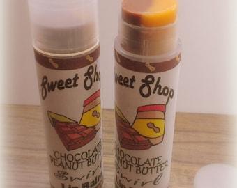 Lip Balm - Peanut Butter Chocolate SWIRLED LIP BALM - Handmade - Vegan
