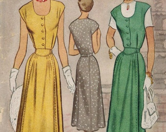 1950s McCall 8009 Vintage Sewing Pattern Misses Maternity Jumper or Dress Size 12 Bust 30