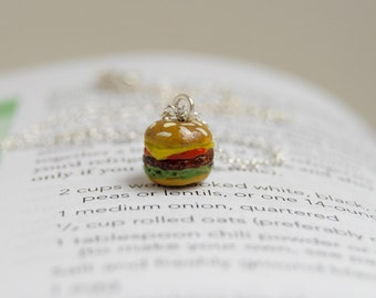 Itty Bitty Burger Necklace | Tiny Hamburger Charm Necklace | Cute Food Jewelry