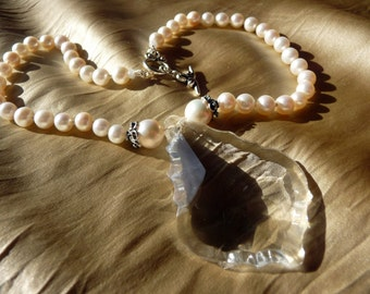 CLEARANCE* We Skipped the Light Fandango - Uber Chandelier Crystal & Pearl Necklace