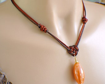 Copper brown amber pendant satin Chinese knot necklace glass bead pendant orange gold chocolate brown knotted necklace satin cord necklace