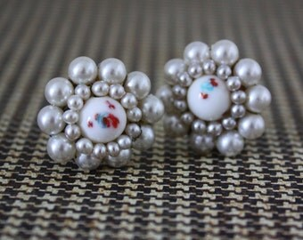 Faux Pearl Bead Cluster Earrings - Vintage Costume Jewelry