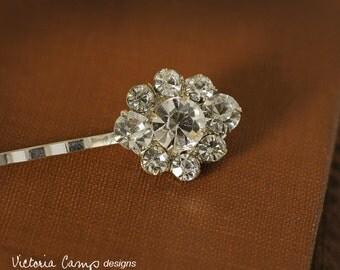 Silver Hair Pin with Vintage Rhinestones, Clear Rhinestone, Wedding, Bridal, OOAK, Bobby Pin