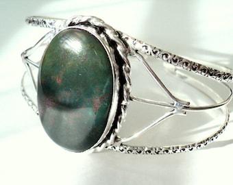 Ornate BLOODSTONE GEM CUFF Silver Plated Bracelet, Avante Garde, Boho