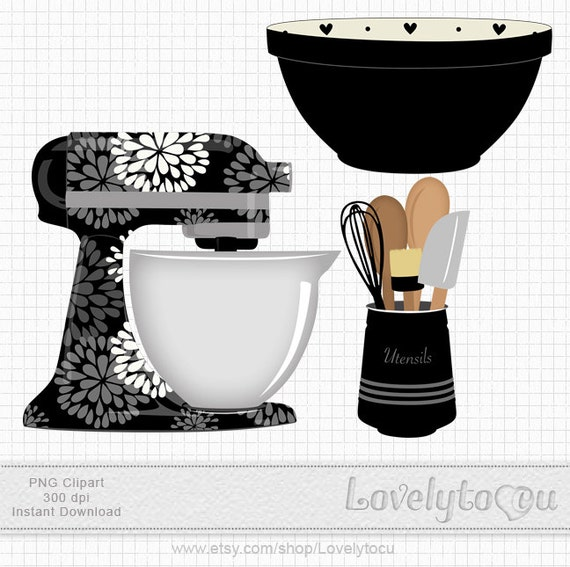 Kitchen Art Mixer: Kitchen Baking Clipart Set Mixer Utensils And Bowl By Lovelytocu