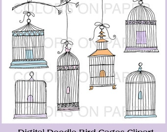 Digital Doodle Bird Cage Clip Art. Instant Download. Digital Scrapbooking Clipart. Personal and Limited Commercial Use.
