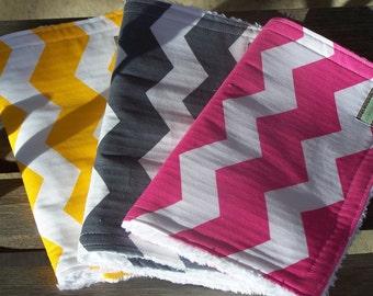 Chevron Burp Cloth Trio --Chenille burp cloths