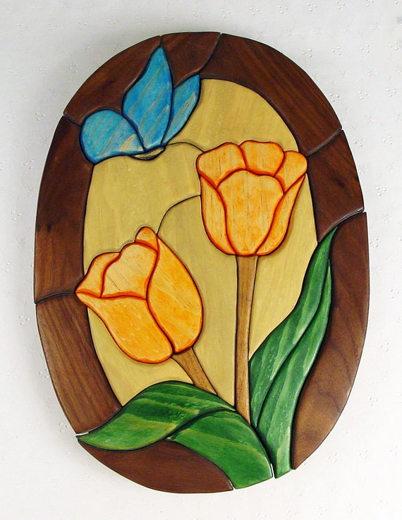 Handcrafted Wooden Intarsia Orange Tulip Flower Blue Butterfly Wall Art Plaque
