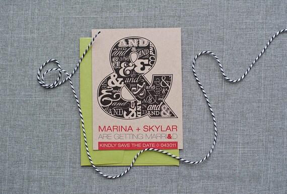 Modern Typography Wedding Save the Date, Rustic Kraft Save the Date, Ampersand Wedding - Modern Wedding, Custm Wedding - Marina and Skylar