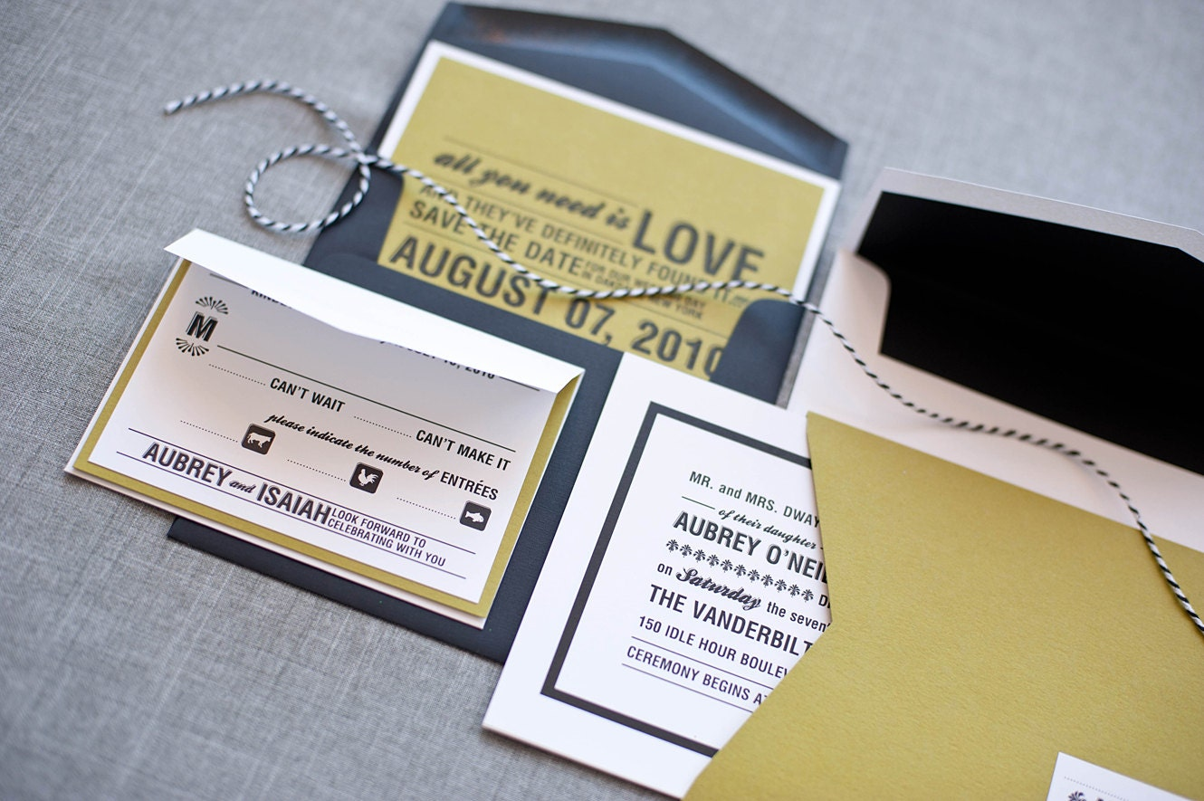 modern green and black wedding invitations - 28 images - script ...