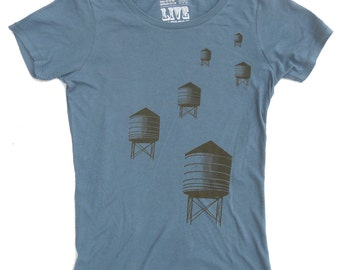 Water Towers T-Shirt, Women's Blue Organic Scoop Neck