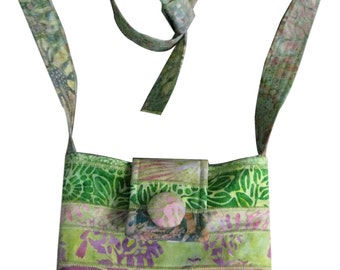 Cross Body Hip Purse in Green and Pink Batiks