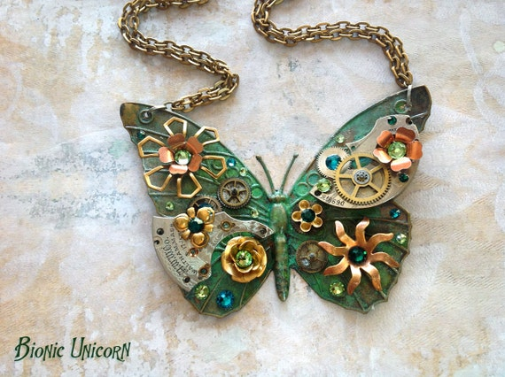Steampunk Butterfly Necklace - Custom Design Emerald Green Patina Steampunk Butterfly with Watch Gears Flowers - Large Butterfly Necklace