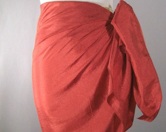Mini Sarong - Short Pareo - Crinkled Silky Satin -  Shiny Red  Sarong - Swimsuit Cover up - Beach Skirt - Beachwear