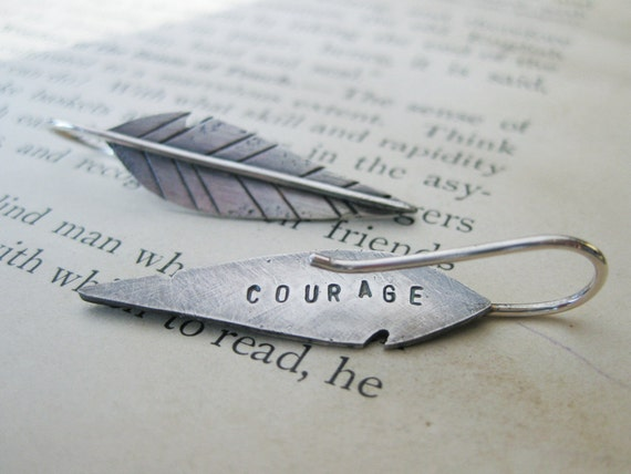 sterling silver feather warrior earrings - COURAGE or your custom word - made to order