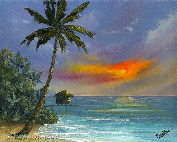 Sunset Hut Original 11x14 Palette Knife Oil Painting Art