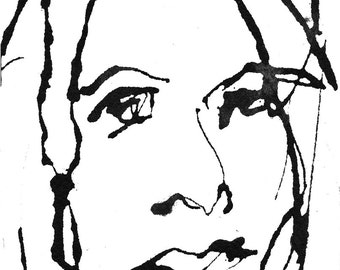 Art  Pen and Ink  Sketch Drawing Portrait Woman Face Black and White on Watercolor Paper