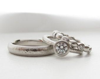 Diamond engagement ring with matching diamond eternity band, platinum wedding ring set, low profile ladies rings, men's narrow wedding band