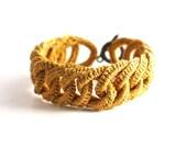 Irish Crochet Bracelet Fiber Bracelet  Golden Faux Chainmail