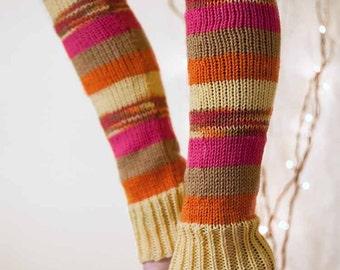 Knit Leg Warmers Knit Boot Socks Adult Legwarmers Womens Striped Leg Warmers Knee High Leg Warmers Yellow Brown Fuchsia Orange